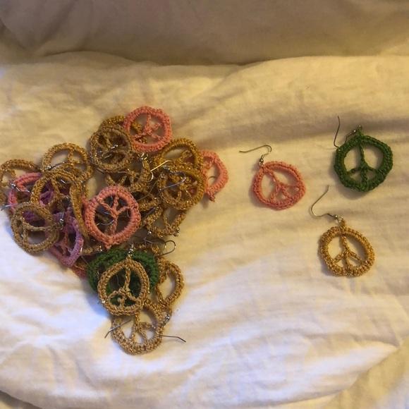 Accessories Handmade Crochet Peace Sign Earrings Poshmark